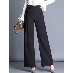 Berrylook Office Black High-Rise Wide-Leg Pants clothing stores, clothes shopping near me,