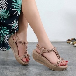 Berrylook Women's Elastic Wedge Platform Flower Sandals clothing stores, clothes shopping near me,