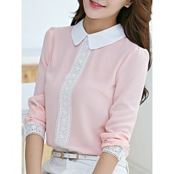 Berrylook Casual Slim Doll Collar Chiffon Lace Panel Blouse online sale, sale, Color Blouses, summer tops for women, ruffle blouse