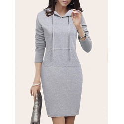 Berrylook Hooded Patch Pocket Plain Bodycon Dress clothes shopping near me, sale, plain Bodycon Dresses, red dress, cheap bodycon dresses