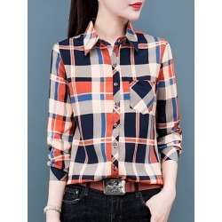 Berrylook Lapel Patchwork Casual Plaid Long Sleeve Blouse online sale, shop, going out tops, white blouses for women