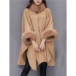 Berrylook Faux Fur Collar Frayed Trim Plain Batwing Sleeve Coat sale, cheap online shopping sites, warm jackets for women, military jacket women