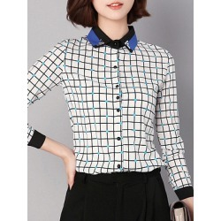 Turn Down Collar  Patchwork  Checkered Blouses