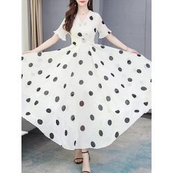 Berrylook V-Neck Printed Maxi Dress online sale, sale, Wave Maxi Dresses, sundress, vintage dresses