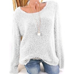 Berrylook Low Round Collar Fashion Plain Long Sleeve Knit Pullover clothing stores, cheap online stores, knit cardigan, sweaters