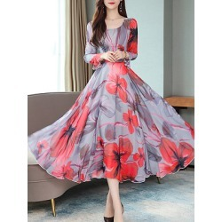 Berrylook Round Neck Floral Printed Bell Sleeve Maxi Dress sale, shoping, floral Maxi Dresses, shirt dress, graduation dress
