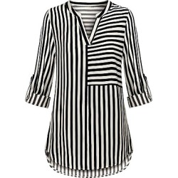 Berrylook V Neck Striped Long Sleeve Blouse cheap online stores, sale, peasant blouse, one shoulder tops
