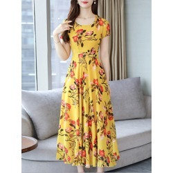 Berrylook Round Neck Floral Printed Maxi Dress sale, shoping, Fitted Maxi Dresses, sheath dress, vintage dresses