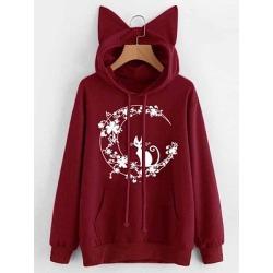 Berrylook Casual Printed Long Sleeve Hoodie sale, online, printed Hoodies, mens sweatshirts, black hoodie womens