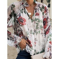 Berrylook V Neck Floral Long Sleeve Blouse shoppers stop, sale, white blouses for women, shirts for women