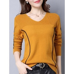 Berrylook V Neck Patchwork Elegant Striped Long Sleeve Knit Pullover clothing stores, cheap online shopping sites, knit cardigan, sweaters