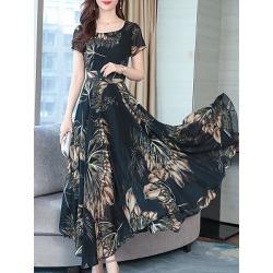 Berrylook Vintage Floral Crewneck Maxi Dress online shop, online, long formal dresses, shirt dress found on MODAPINS from Berrylook for USD $15.79
