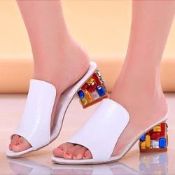 Berrylook Plain Chunky High Heeled Peep Toe Date Peep-Toe Heels clothing stores, clothes shopping near me,