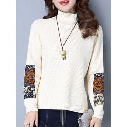 Berrylook Short High Collar Patchwork Elegant Long Sleeve Knit Pullover clothes shopping near me, fashion store, splice Pullover, long cardigans for women, chunky sweater