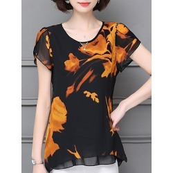 Berrylook Round Neck Patchwork Lace Short Sleeve Blouse cheap online shopping sites, sale, printing Blouses, peasant blouse, blouses for women