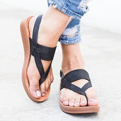 Berrylook Plain Peep Toe Casual Flat Sandals clothing stores, clothes shopping near me, Plain Flat Sandals,