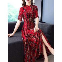 Berrylook Round Neck Printed Maxi Dress shop, online sale, printing Maxi Dresses, wedding guest dresses, long red dress