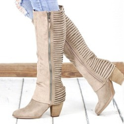 Berrylook Plain Chunky Round Toe Boots stores and shops, online sale, plain Boots,