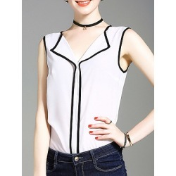 Berrylook V Neck Patchwork Color Block Blouses shoppers stop, fashion store, black top, white blouses for women found on Bargain Bro Philippines from Berrylook for $6.95