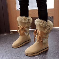 Berrylook Fashion ladies lace-up platform pure color snow boots sale, cheap online stores, Solid Flat Boots,