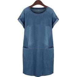 Berrylook Round Neck Slit Pocket Gradient Shift Dress online sale, sale, Fitted Shift Dresses, below the knee dresses, shift dress
