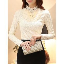 Berrylook Band Collar Ruffle Trim Plain Lace Blouse online sale, sale, work blouses, tops for women