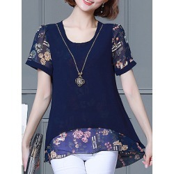 Berrylook Round Neck Patchwork Floral Short Sleeve Blouse online sale, shop, printing Blouses, white blouses for women, dressy tops