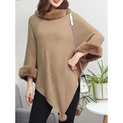 Berrylook Round Neck Patchwork Elegant Plain Knit Pullover online shop, online sale, long cardigan, pullover sweater