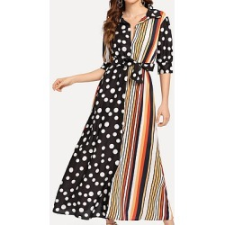 Berrylook Striped Polka Dot Color Block Sleeve Dress shoppers stop, clothing stores, shirt dress, long formal dresses found on MODAPINS from Berrylook for USD $26.95