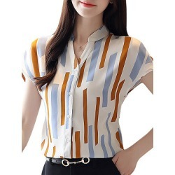 Berrylook V Neck Elegant Print Short Sleeve Blouse online sale, stores and shops, printing Blouses, peasant blouse, tunic tops for women