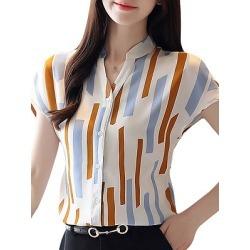 Berrylook V Neck Elegant Print Short Sleeve Blouse online shop, online sale, printing Blouses, silk blouse, peasant blouse
