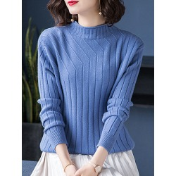 Berrylook Short High Collar Patchwork Elegant Plain Long Sleeve Knit Pullover cheap online shopping sites, shoping, wool sweater, cardigan sweaters for women