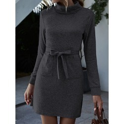 Berrylook High Neck Long Sleeve Lace Pocket Dress online shopping sites, online, semi formal dresses, shirt dress found on MODAPINS from Berrylook for USD $19.95