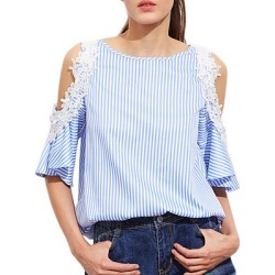 Berrylook Round Neck Patchwork Lace Striped Short Sleeve Blouse online sale, sale, red blouse, work blouses