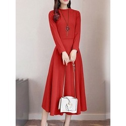Berrylook Round Neck Plain Maxi Dress online sale, sale, Solid Maxi Dresses, off the shoulder dress, maxi dresses with sleeves