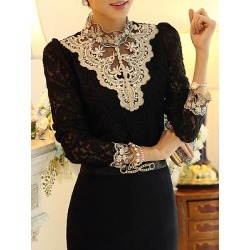 Berrylook Band Collar Beading Lace Hollow Out Long Sleeve T-Shirt sale, online shopping sites, found on Bargain Bro Philippines from Berrylook for $23.95