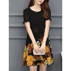 Berrylook Round Neck Printed Shift Dress online, shoping, printing Shift Dresses, below the knee dresses, long sleeve dress