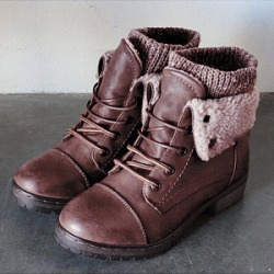 Berrylook Plain Round Toe Casual Outdoor Short Flat Boots clothing stores, clothes shopping near me,