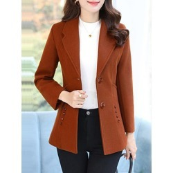 Berrylook Fashion button solid color coat clothes shopping near me, sale, warm jackets for women, red jacket womens