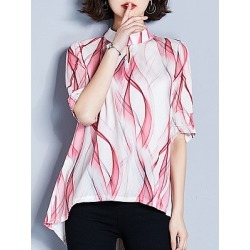 Berrylook Band Collar Printed Long Sleeve Blouse online sale, sale, printing Blouses, one shoulder tops, going out tops