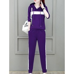 Womens long sleeved spell-color hooded casual sports suit