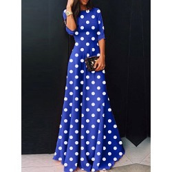 Berrylook Round Neck Polka Dot Maxi Dress sale, cheap online shopping sites, long sleeve dress, vintage dresses found on Bargain Bro Philippines from Berrylook for $18.95
