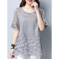 Berrylook Womens Round Neck Patchwork Short Sleeve Blouse shop, online shop, Solid Blouses, summer tops for women, silk blouse