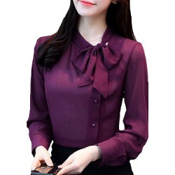 Autumn Spring  Polyester  Women  Tie Collar  Single Breasted  Plain  Long Sleeve Blouses