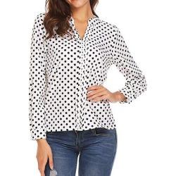 Berrylook V Neck Patchwork Cute Polka Dot Long Sleeve Blouse online sale, sale, red top, summer tops