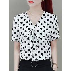 Berrylook V Neck Bow Dot Short Sleeve Blouse online shop, online sale, blouses for women, peasant blouse