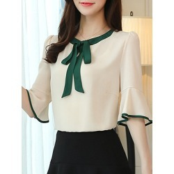 Berrylook Round Neck Patchwork Bell Sleeve Blouse online sale, online, splice Blouses, summer tops for women, shirts for women