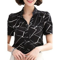 Berrylook V Neck Patchwork Print Short Sleeve Blouse sale, clothing stores, printing Blouses, white blouses for women, red top