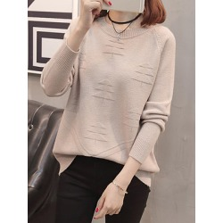 Berrylook Round Neck Patchwork Elegant Plain Long Sleeve Knit Pullover online sale, clothes shopping near me, knit cardigan, sweaters