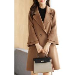 Berrylook Notch Lapel Plain Bell Sleeve Coat online sale, sale, black leather jacket women, black jacket womens